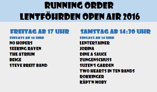 Running Order mit Startzeiten